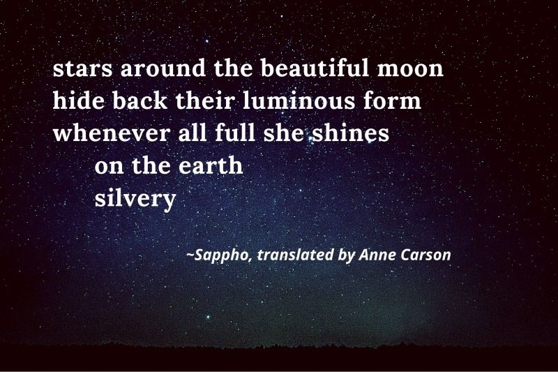 A poem by Sappho up against the backdrop of space