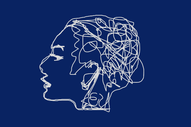 A sketch of a woman with her mind in scribbles to show the working of the mind and to illustrate the five aggregates on the mind